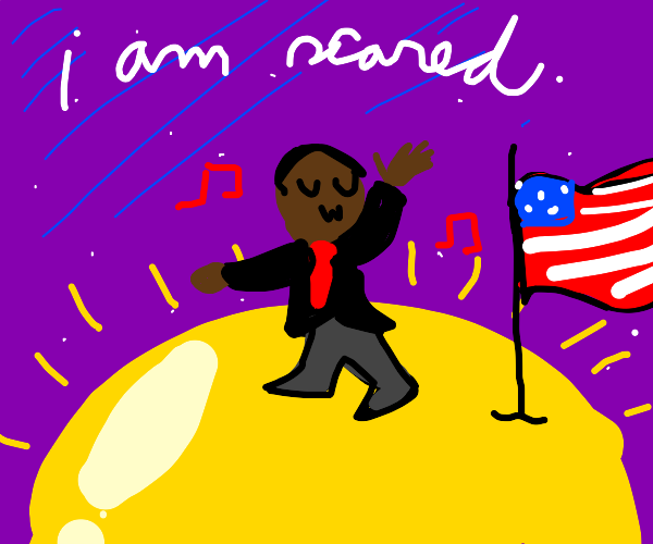 Obama dancing on the sun with american flag