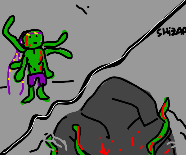 Tentacle-Hulk gets crushed by a giant rock!