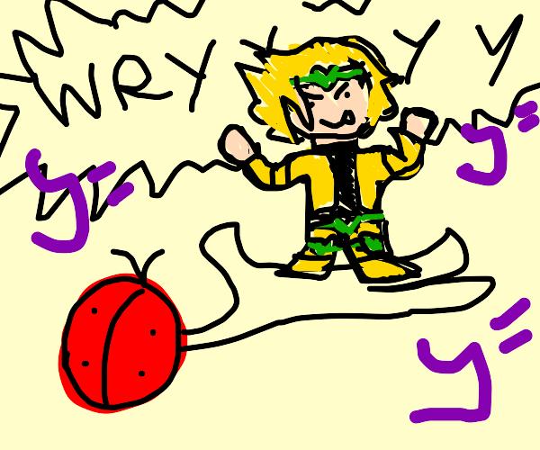 The ladybug holds D I O!
