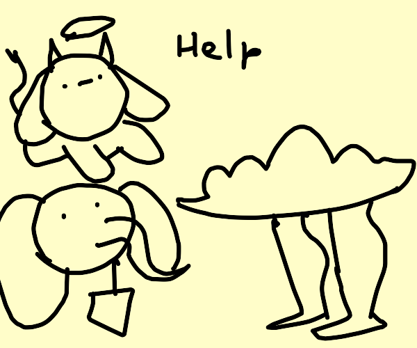 Angel cow and elephant praise cloud man