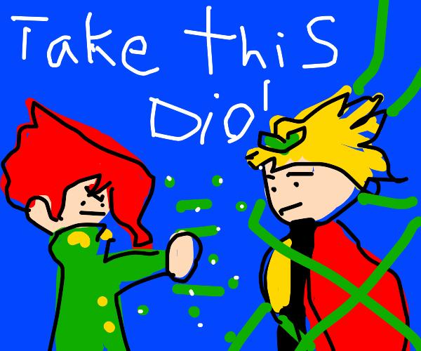 kakyoin uses the emerald splash on someone