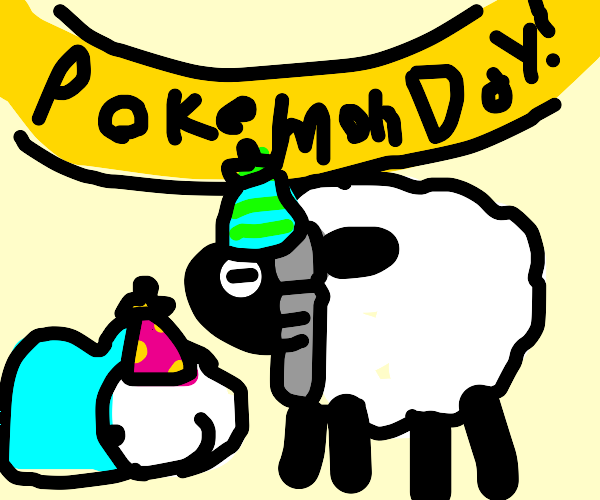 Group of Pokemon Celebrating Pokemon Day!