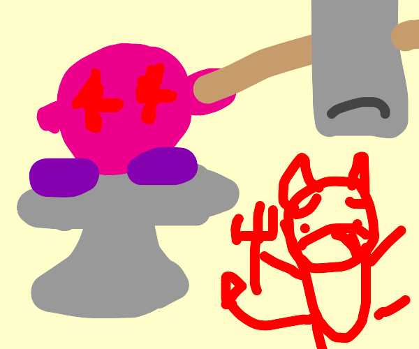Kirby on a Anvil squashes his demons