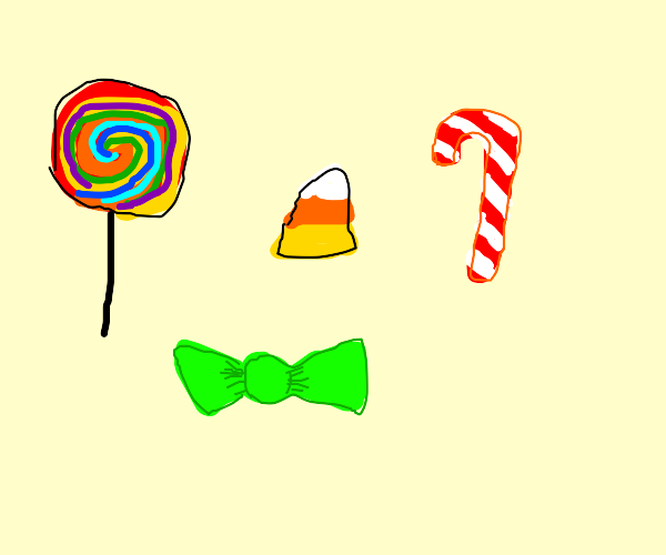 lollipop, candy corn, candy cane, and candy