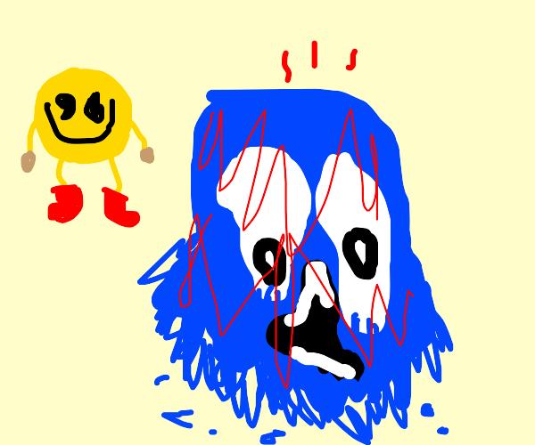 melting blue PacMan enemy