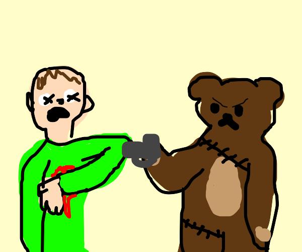 teddy bear shoots man in the heart