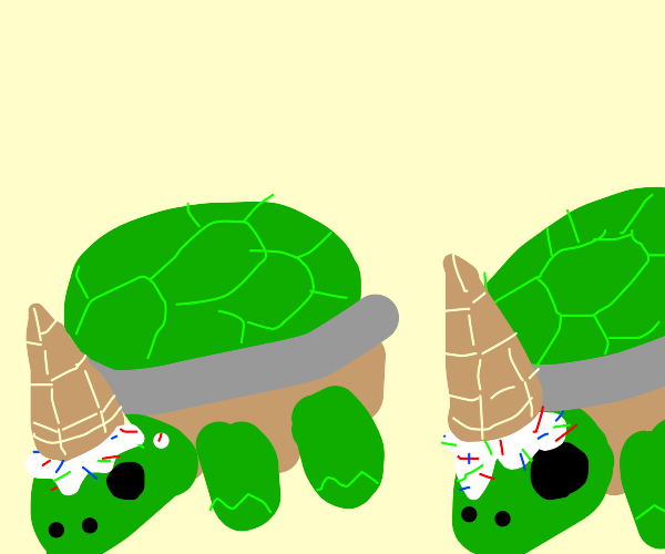 Two turtles wearing ice cream cones on  heads