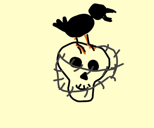 Skull wrapped in barbed wire wy a raven atop