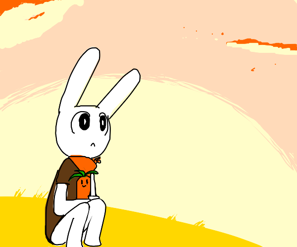 Rabbit boy looks at the sky with his carrot f