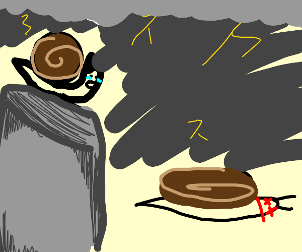 Snails watches as his snail brother dies.