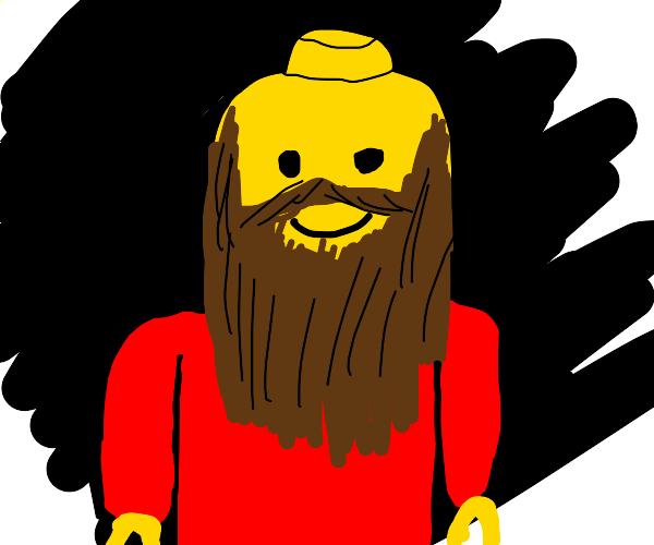 lego man with an abundance of hair on face