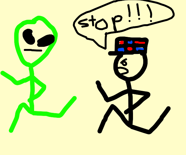 Green alien escapes from the local police