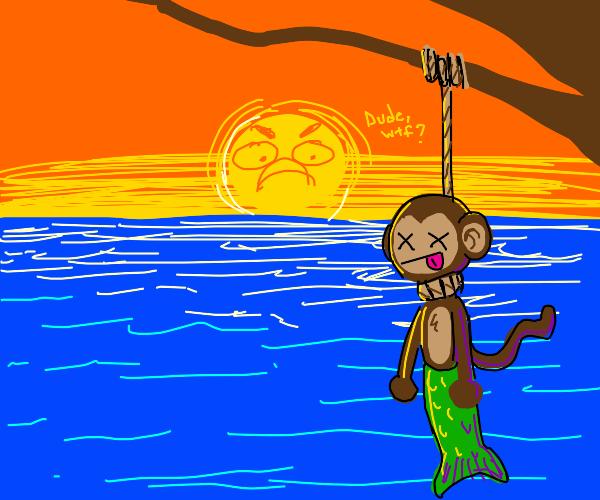 Monkey Merman hanging on tree branch over sea