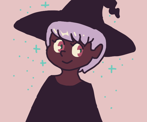 Aesthetic, pixie-haired witch girl