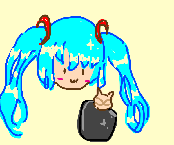 hatsune miku with cat mouth smile