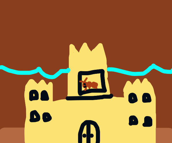 ant in a sand castle