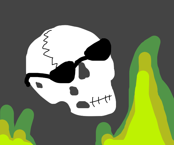 Skull with green flames and sunglasses.