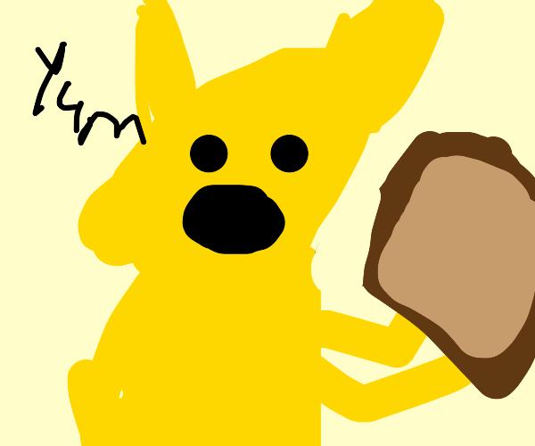 humanoid pichu holding toast