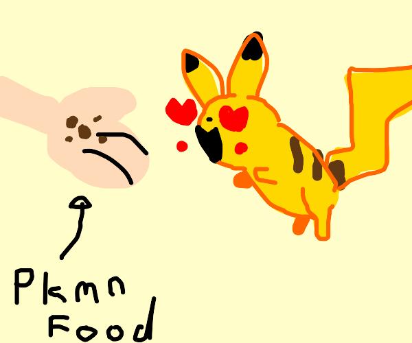 giving pikachu food