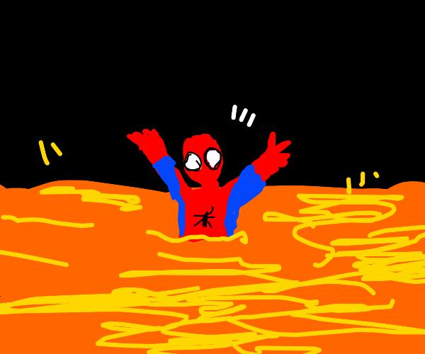Spiderman sinking into Lava