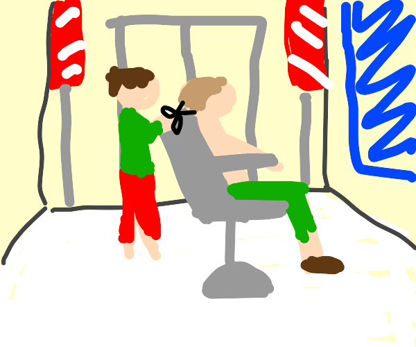 A guy getting a haircut