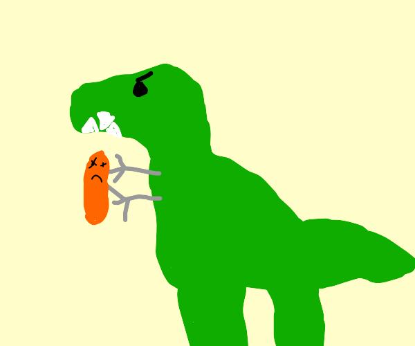 Dinosaur with robotic arms killing a hotdog