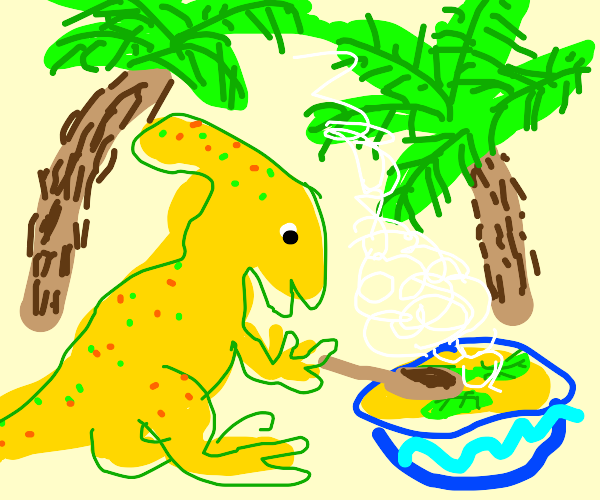 Dinosaur eating a potatage.