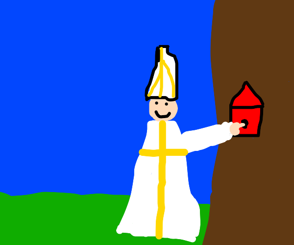 Pope sticks his finger in a birdhouse
