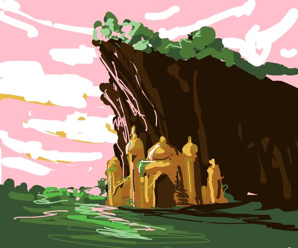 Castle below a cliff
