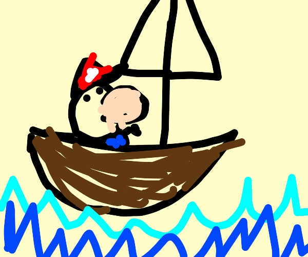 Baby Mario is sailing on a boat