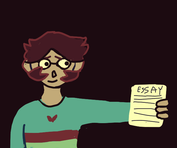 Person with glasses holding an essay
