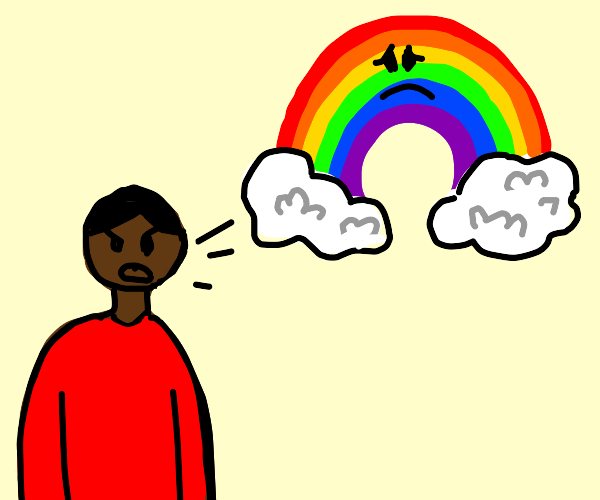 black person yelling at rainbow