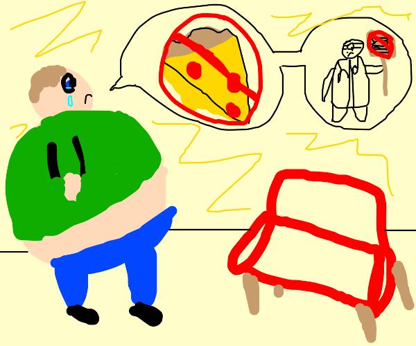 man telling his sofa that he has diabetes