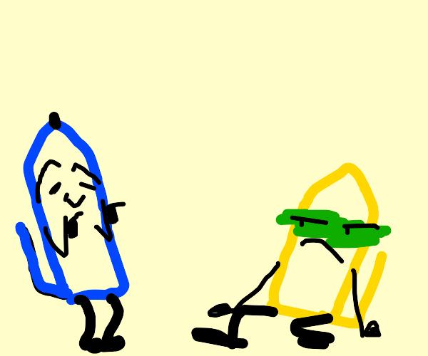 blue pen is lovely, yellow pen is sickening