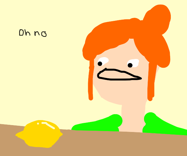 Girl says oh no because she has no fruit