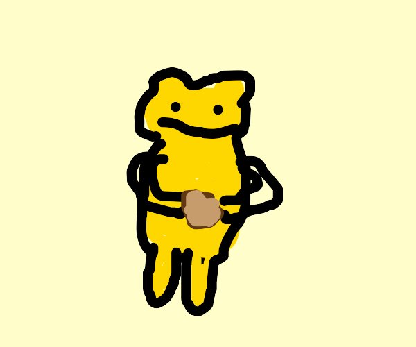 yellow bear holding a chicken nugget