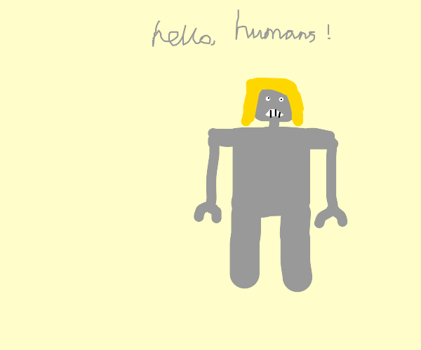 robot with blonde hair greets humans