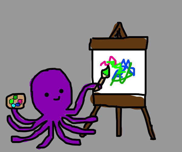 octopus is painting