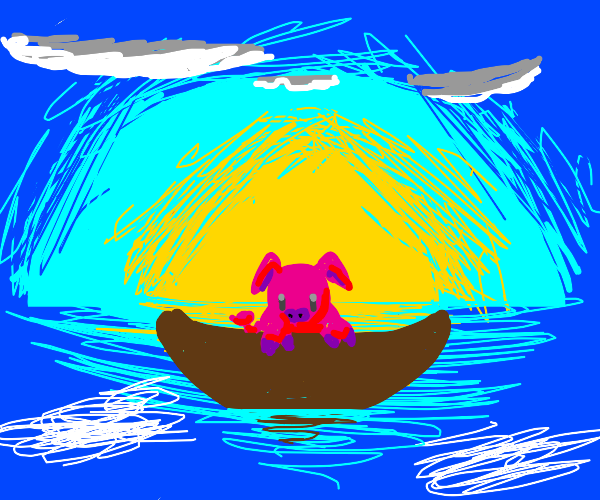 Pig in a boat