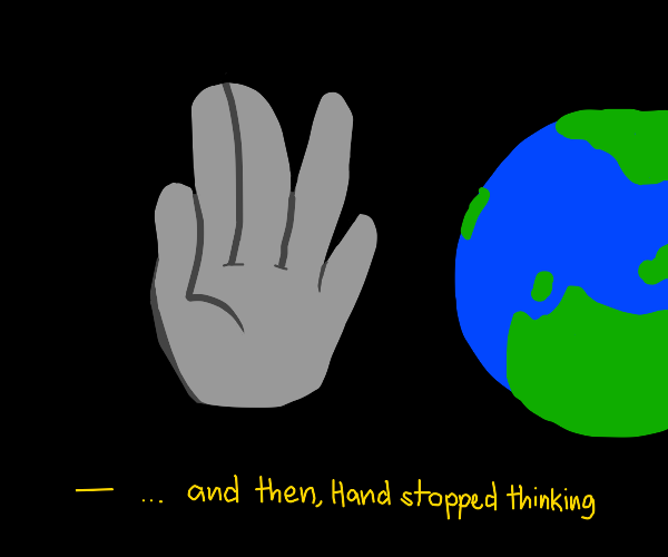 Hand floating in space