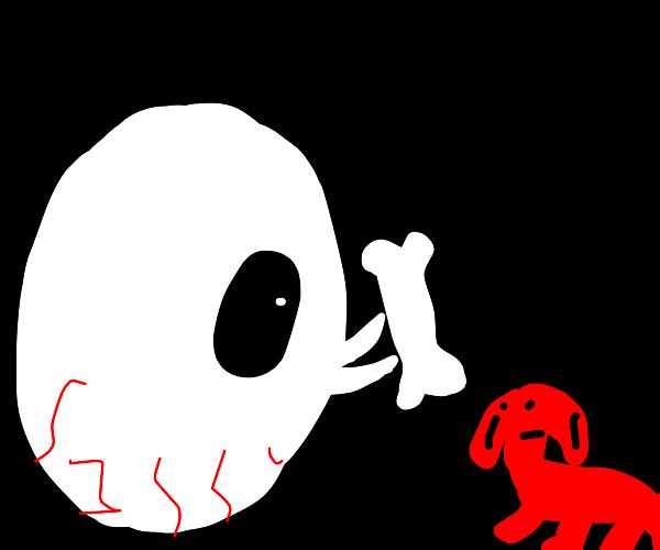 Giant eyeball offers dog a treat