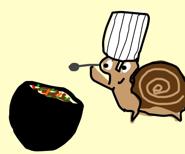 Chef snail making stew