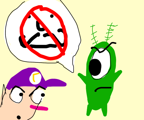 Waluigi is told he is adopted by Plankton
