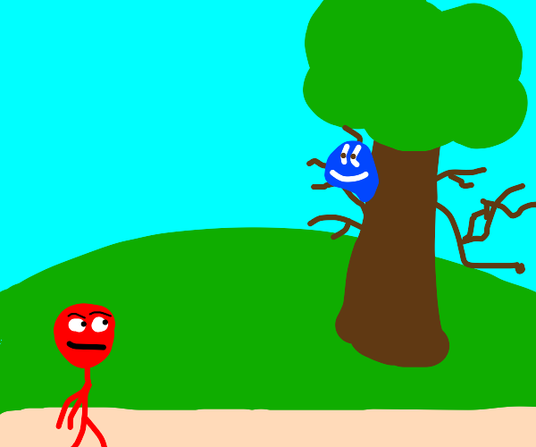 red guy looks at blue blob on a tree
