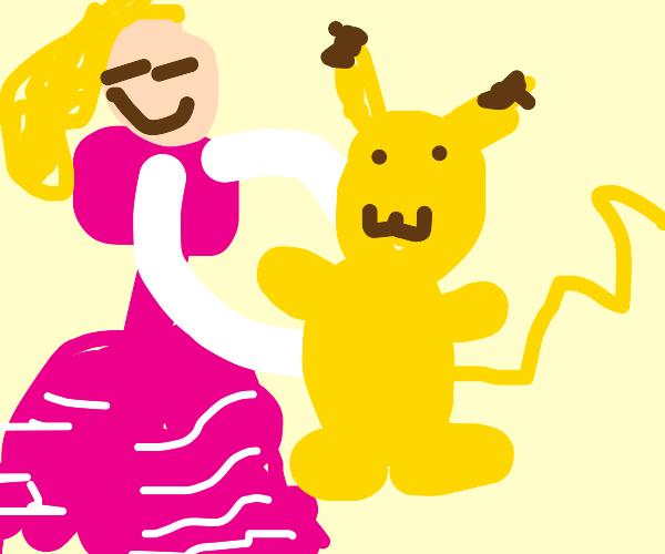 Princess Peach hugs pikachu