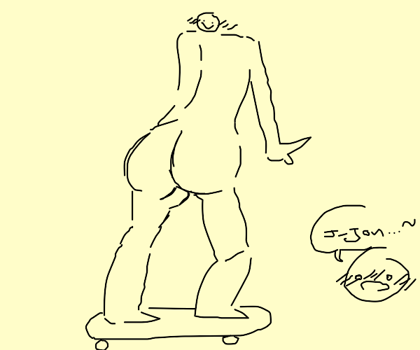 Man with no pants on does a skateboard trick