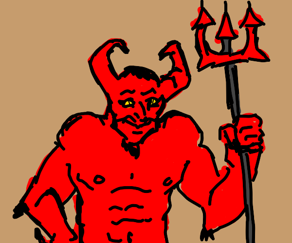 demon with a pitchfork