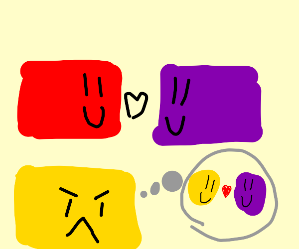 red flag likes purple flag, yellow is jealous