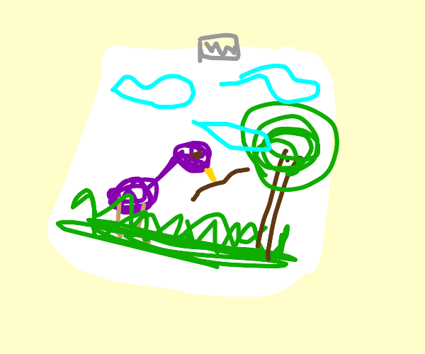 bird eats a worm, in a child's drawing
