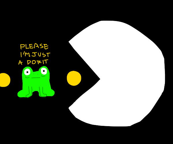 white pacman eating frog